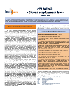 HR NEWS - Legal Counsels sro