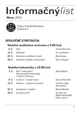 Marec 2015 - Cirkev bratská v Bratislave