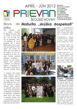 APRÍL - JÚN 2012 Maturanti