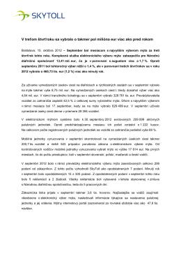 V treťom štvrťroku sa vybralo o takmer pol milióna eur viac