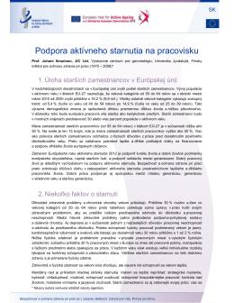 Podpora aktívneho starnutia na pracovisku - EU-OSHA