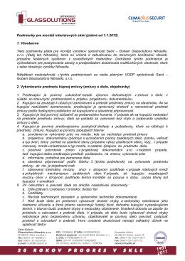 Podmienky montáže interiérových skiel (PDF)