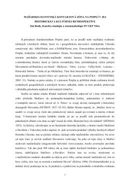 1 MAĎARSKO-SLOVENSKÁ KONTAKTOVÁ ZÓNA NA POIPLÍ V JEJ