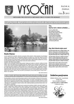 Vysočan, rok 2013, 3. číslo