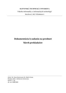 Dokumentácia k zadaniu na predmet Návrh prekladačov