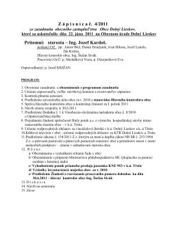 Zápisnica zo zasadnutia obecného zastupiteľstva 22