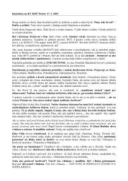 Katechéza, ktorá odznela na KV KOČ Prešov 17. 1. 2015