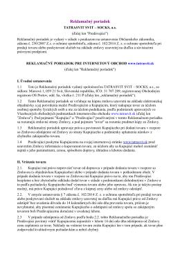 Reklamačný poriadok - Tatrasvit Svit