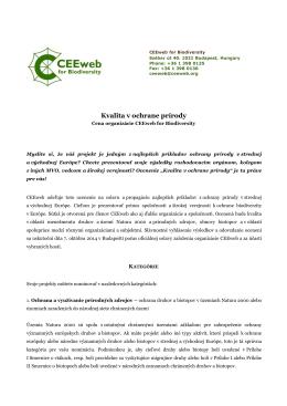 Súťaž - Kvalita v ochrane prírody 2014
