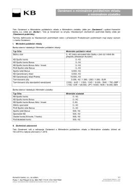 Oznámení o minimálním počátečním vkladu a