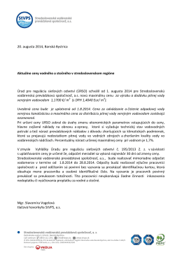 Zmena cien od augusta 2014 - Stredoslovenská vodárenská