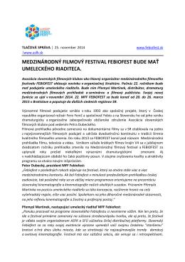 medzinárodný filmový festival febiofest bude mať