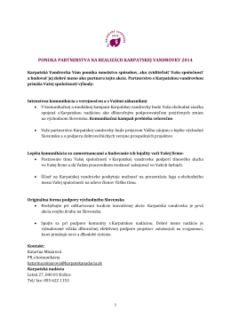 komplexnú ponuku - Karpatská vandrovka