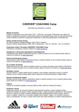 Coerver Informácie pre účastníkov