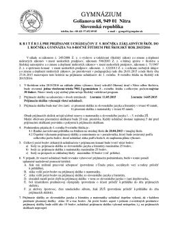 stiahnúť súbor - Gymnázium, Golianova 68, Nitra