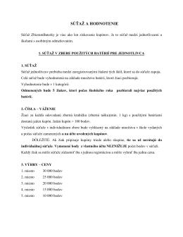 Súťaž a hodnotenie - ZbieramBaterky.sk
