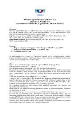 Zápisnica č. 9 / 2012-2016 - Slovenská Hypertenziologická