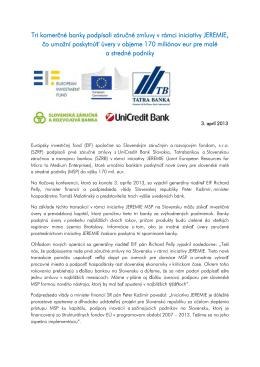 tlačovej správe - Slovenský záručný a rozvojový fond