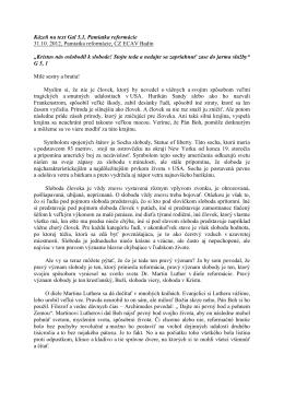 Kázeň na text Gal 5,1, Pamiatka reformácie 31.10