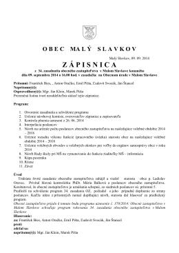 Z 34. zasadnutia OZ 9.9.2014