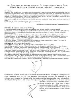SEZAM, školský rok 2011/12, vzorové riešenia 2. zimnej série