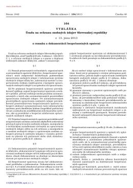 Vyhláška č. 164/2013 Z. z. - Úrad na ochranu osobných údajov