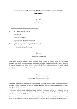 Všeobecné podmienky penzión TMG SKI - SKI