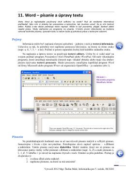11. Word – písanie a úpravy textu