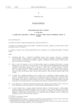 NARIADENIE RADY (EÚ) č. 833/ 2014 - z 31. júla 2014