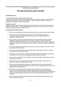 Pravidlá používania siete ChemNet