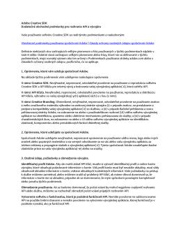 Adobe Creative SDK Dodatočné obchodné podmienky pre