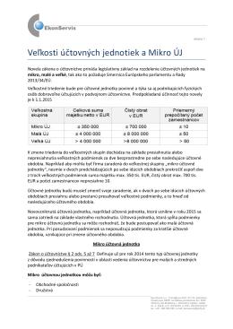 Veľkosti účtovných jednotiek a Mikro ÚJ