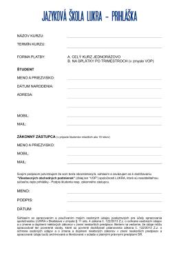 prihlaska 2014/15 - jazykova skola lukra