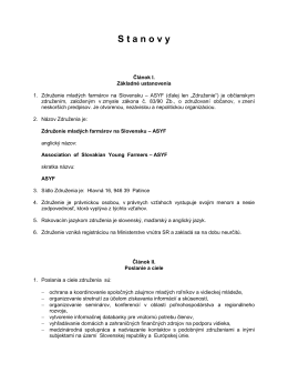 Stanovy ASYF - Združenie mladých farmárov na Slovensku