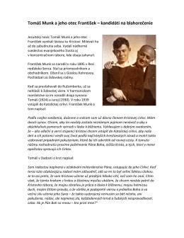 Tomáš Munk a jeho otec František – kandidáti na