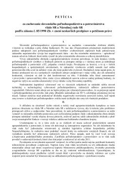 Petícia SPPK - Na stiahnutie