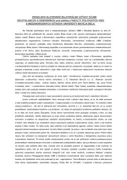 Správa pre spravodaj UMB - Izraelsko