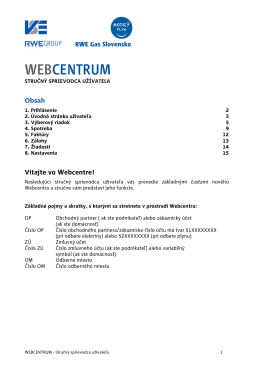 Webcentrum manuál