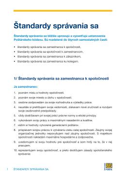 Štandardy správania sa zamestnanca k spoločnosti