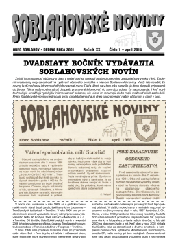 Soblahovské noviny 1/2014