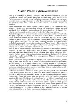 Martin Pener: Výberové konanie