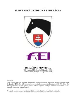 Drezúrne pravidlá SJF, platné od 1. januára 2013