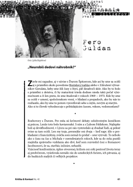 Fero Guldan - Kritika & Kontext
