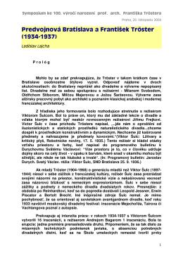 Predvojnová Bratislava a František Tröster (19 3 4 -19 3