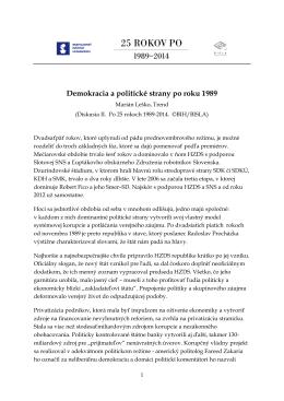 Demokracia a politické strany po roku 1989