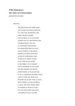 Willia Shakespeare SEN NOCI SVÄTOJÁNSKEJ