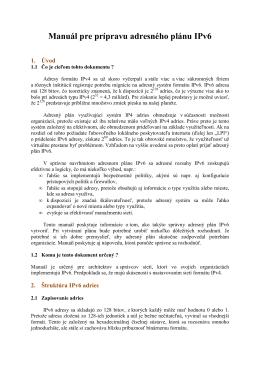 Manuál pre prípravu adresného plánu IPv6
