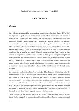 Nezávislý prieskum ročného rastu v roku 2013 ECLM-IMK