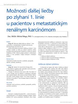 Možnosti ďalšej liečby po zlyhaní 1. línie u pacientov s