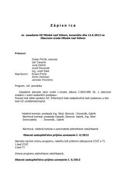 zapisnica- 12.6.2013 - Obec Hlboké nad Váhom